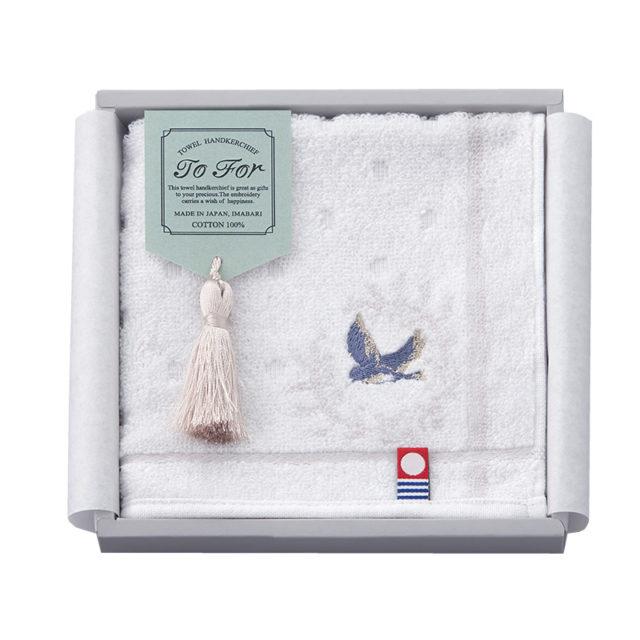 TF3080 刺繍タオルハンカチ【青い鳥】